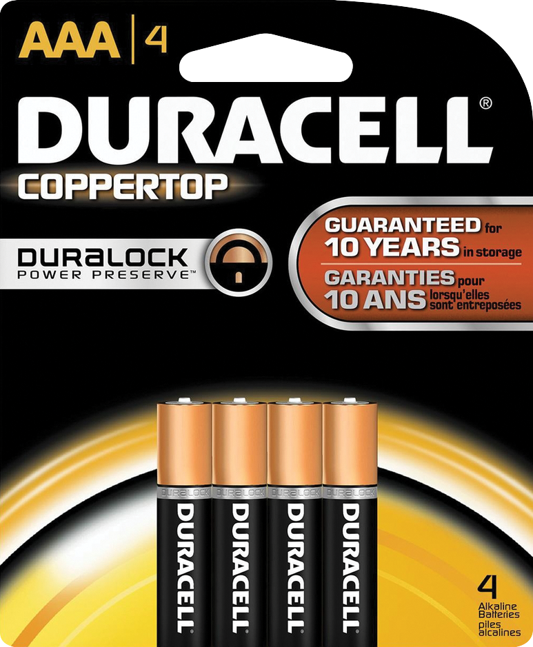 Duracell CopperTop Alkaline Batteries - AAA 4Pk