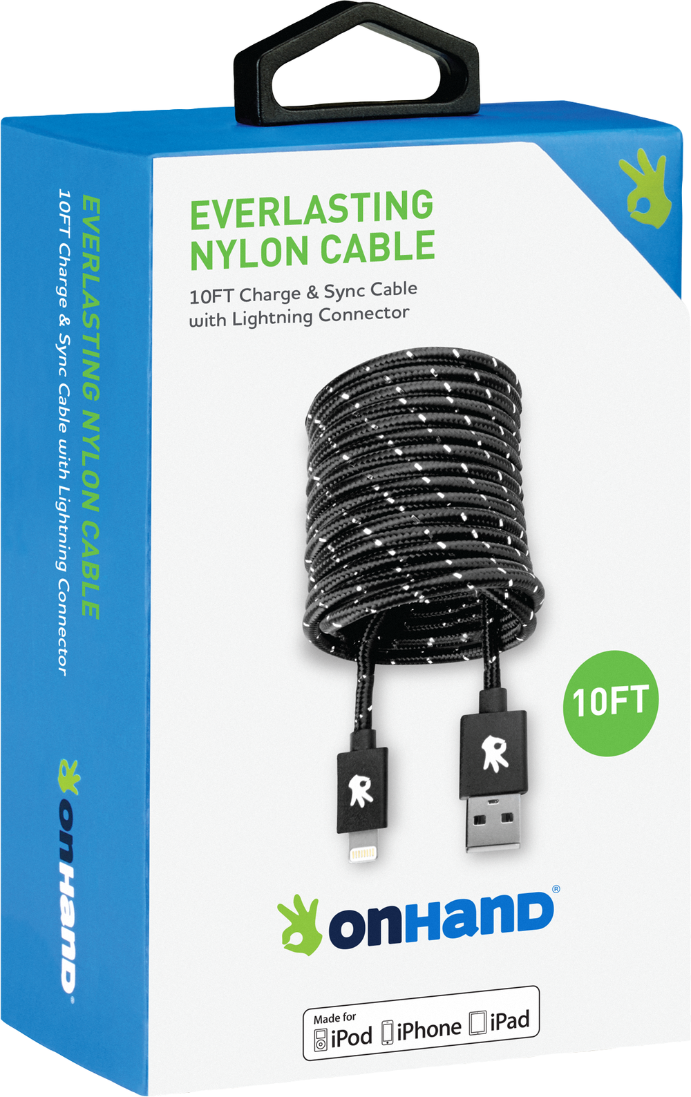 OnHand Everlasting Nylon Sync & Charge Cable - Black 10ft BP USB - Lightning-MFi Certified