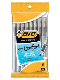 BIC Xtra Comfort Black Pens Pack of 8