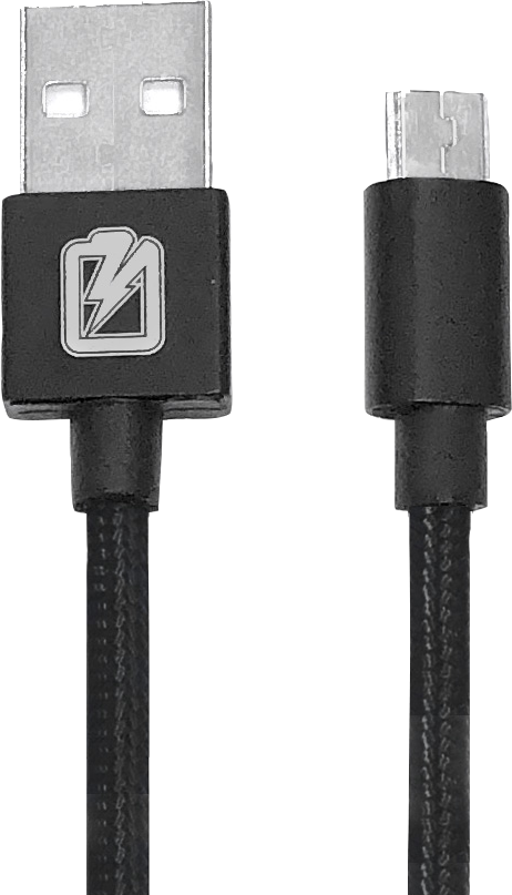 Charge MAXX Braided Charging Cable - Black 6Ft BP USB - Micro USB