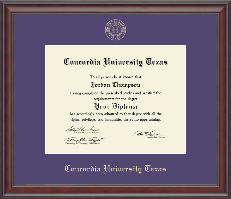 STUDIO Gold Embossed Diploma Frame, Mahogany Wood Frame, Purple Mat