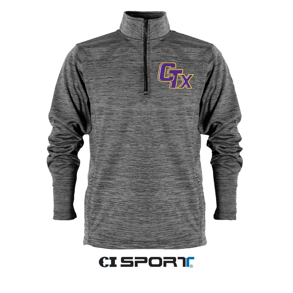 Tornado Mascot Long Sleeve Quarter Zip - Grey