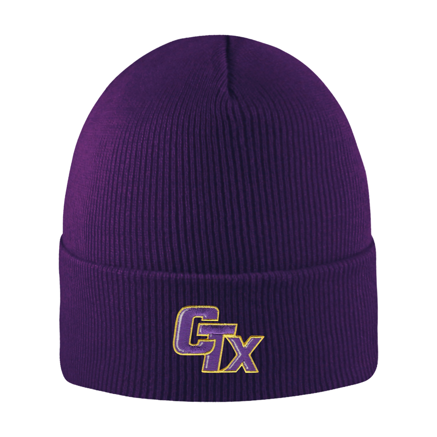 Cuffed Knit Hat - Purple