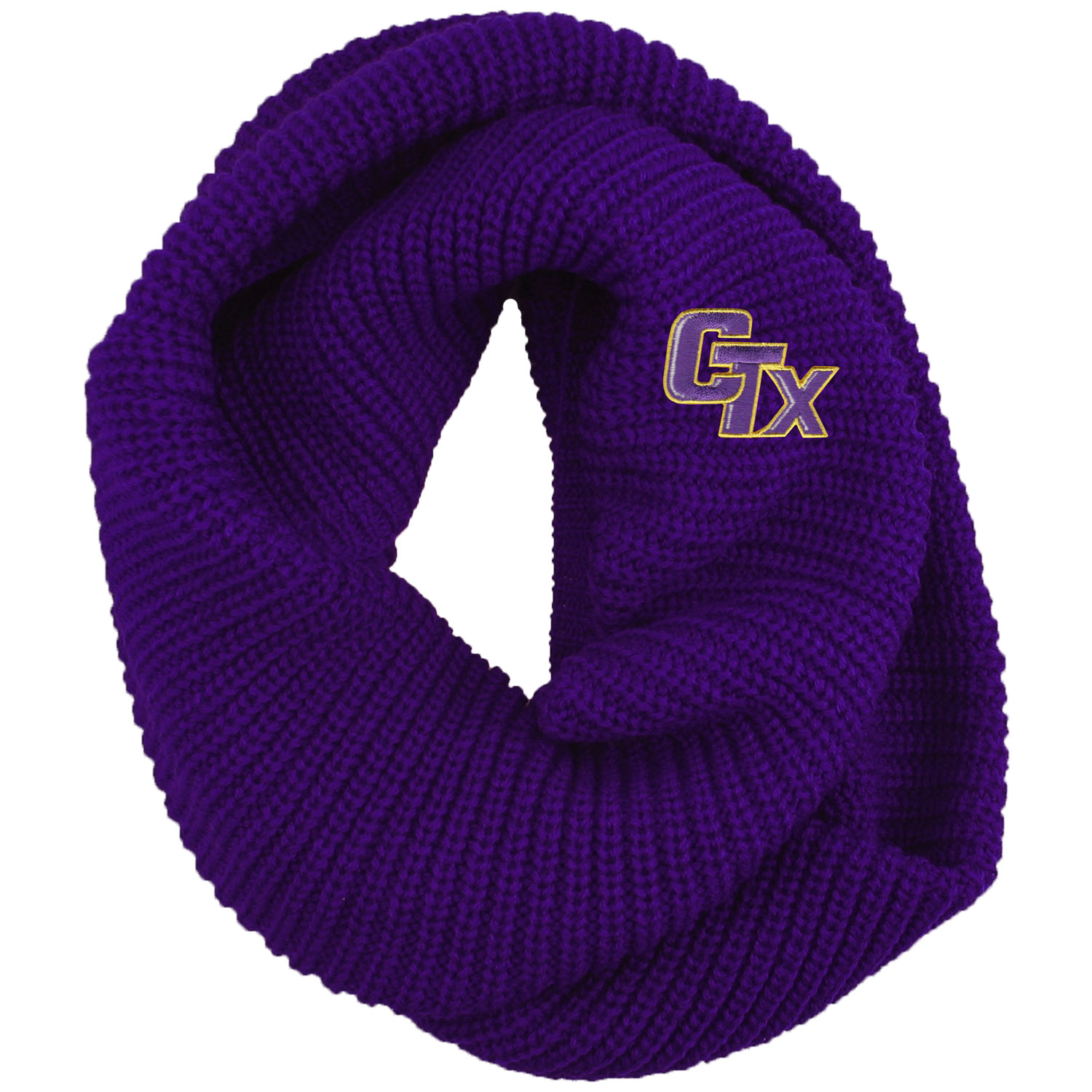 Chunky Knit Infinity Scarf - Purple