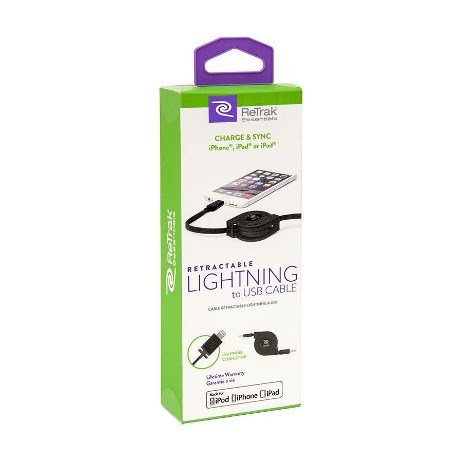 RetTrak Essentials Retractable Lightning Charging Cable