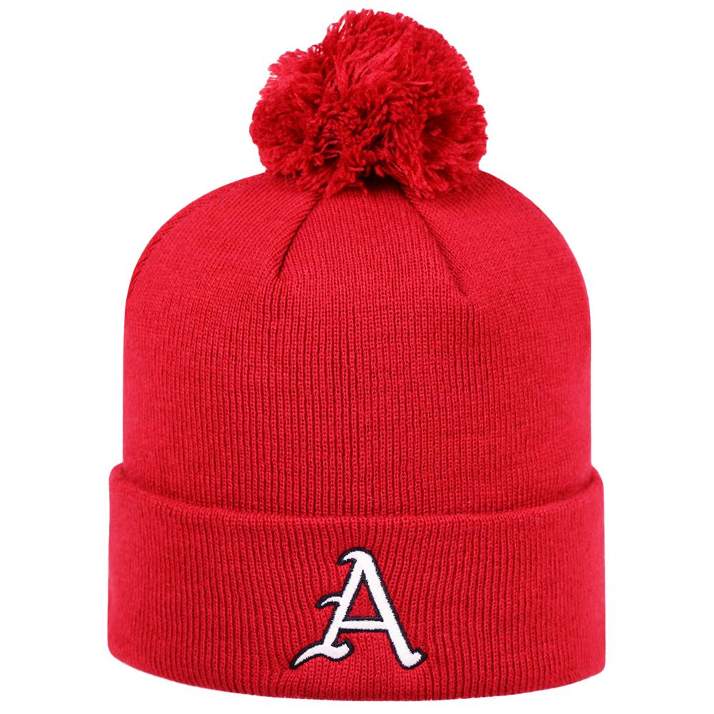 Top of the World Arkansas Razorback Beanie Knit Pom Beanie Hat