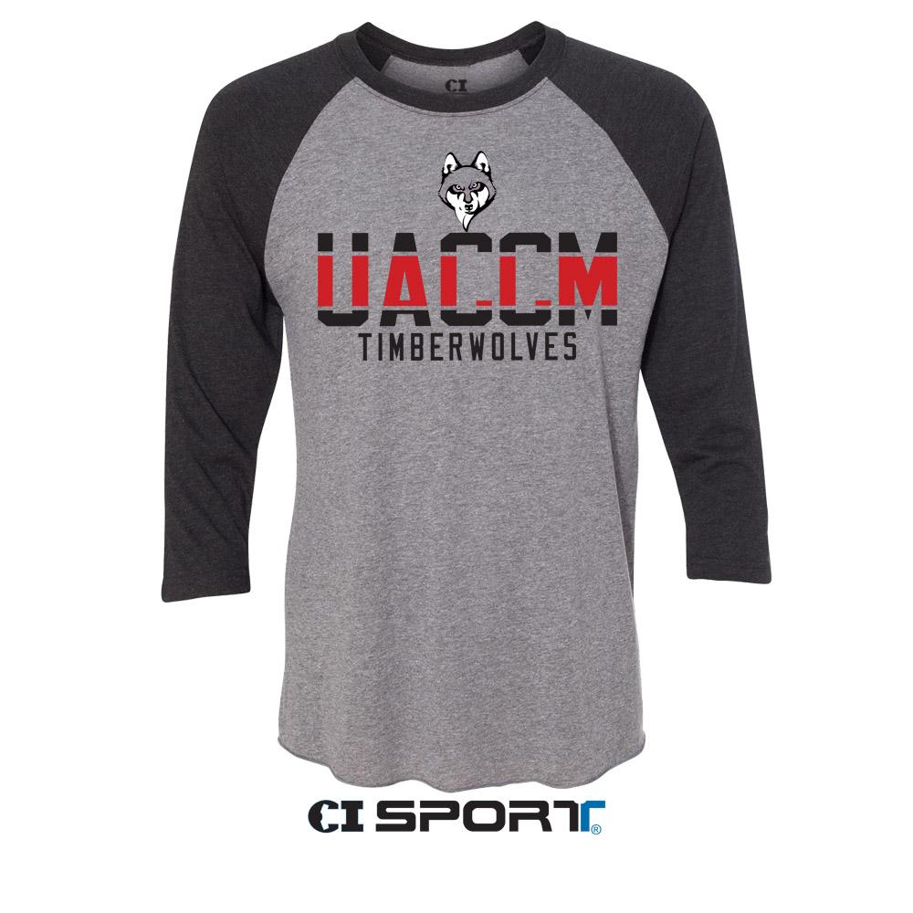 UACCM Timberwolves Uni-sex 3/4 Raglan T-shirts