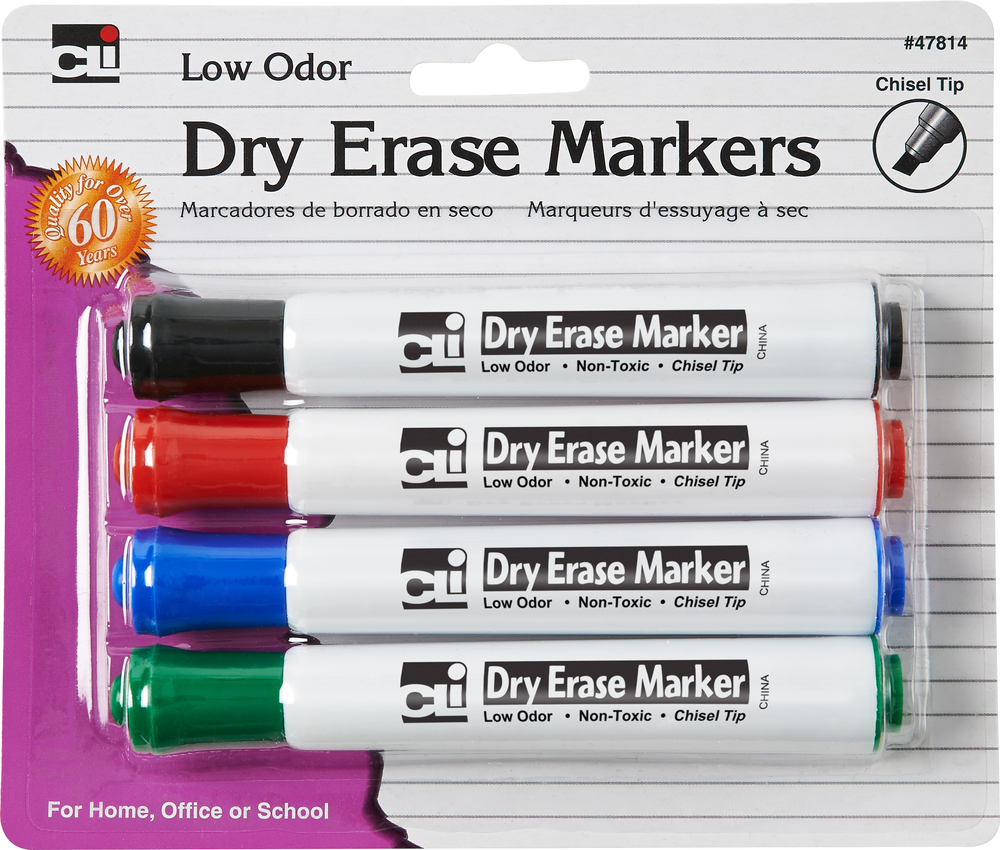 DRY ERASE MARKERS - 4 PACK