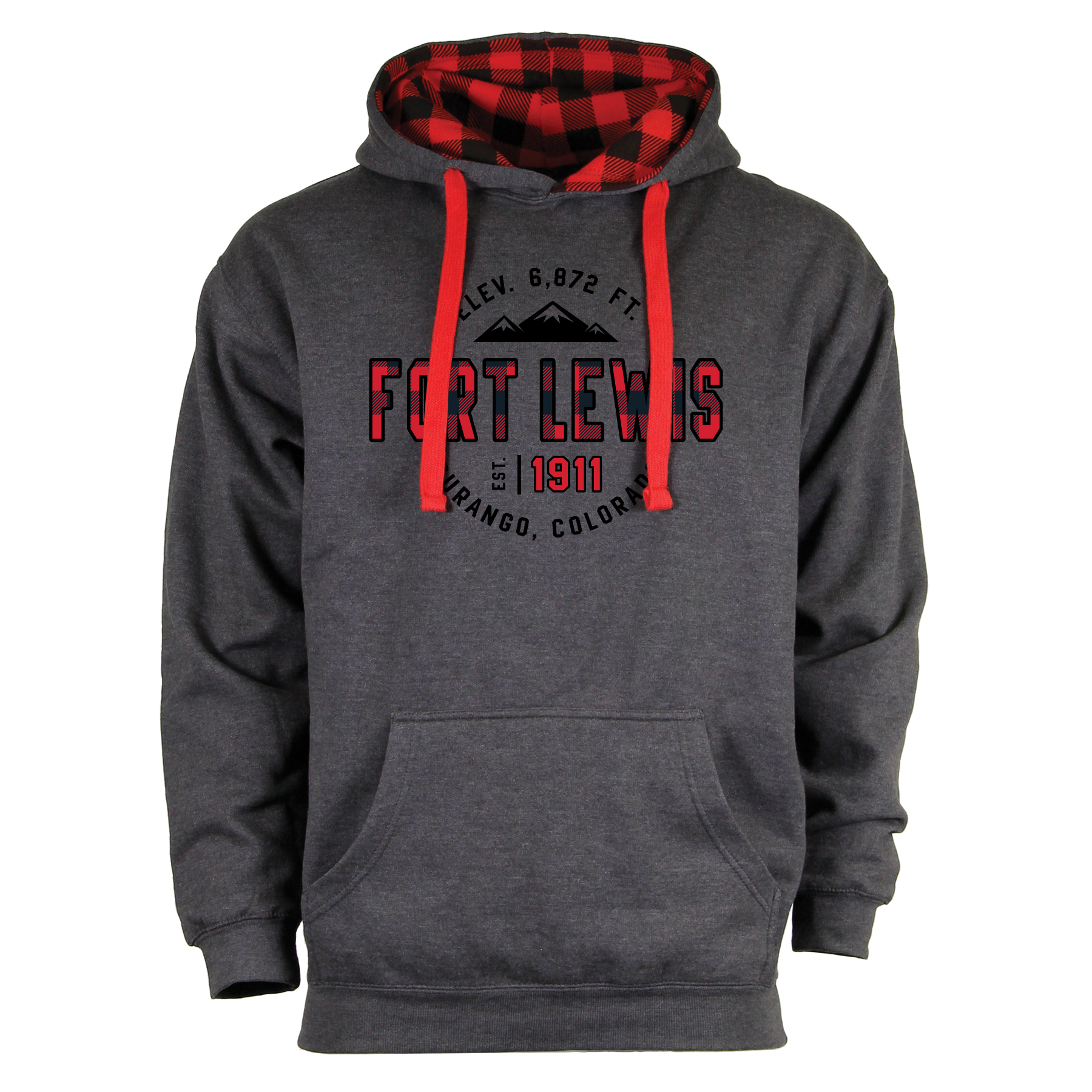 Fort Lewis College Red Plaid Hoodie