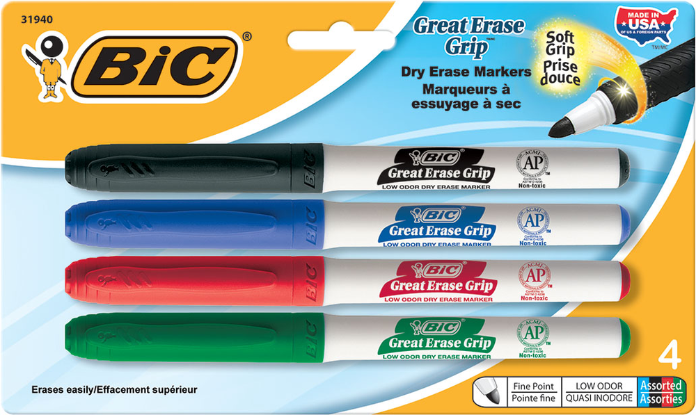 BIC Great Erase Grip Dry Erase Marker - Asst Fine 4Pk BP Pocket