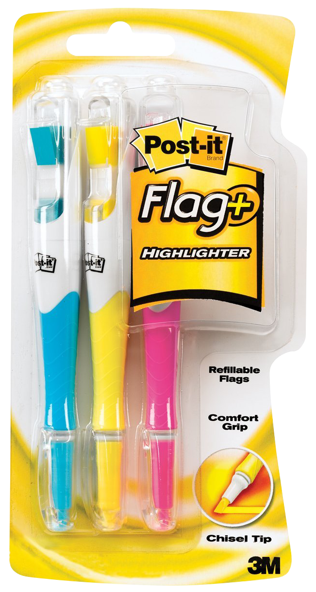 Post-it Flag Highlighter Asst Chisel 3Pk