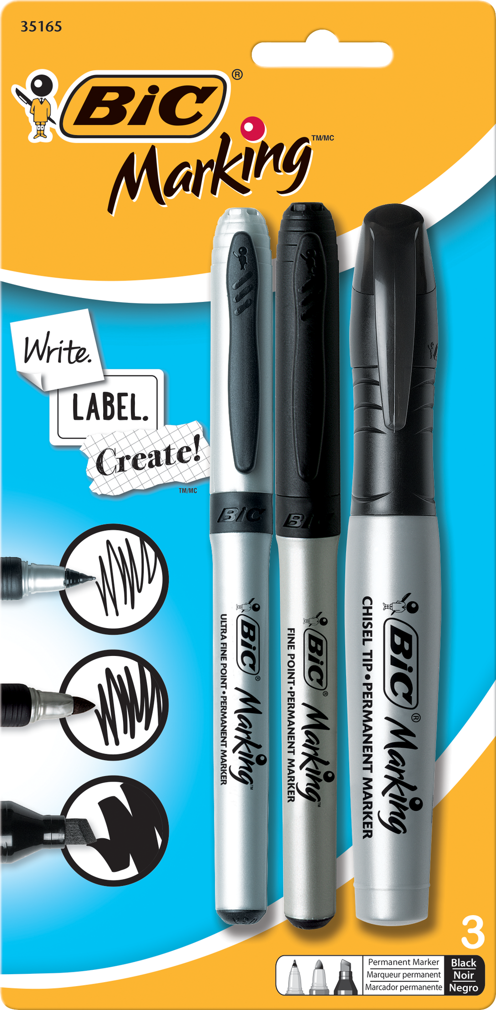 BIC Marking Permanent Marker - Black Asst 3Pk BP