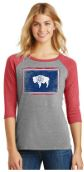 Distressed Wyoming State Flag Women's Baseball Tee