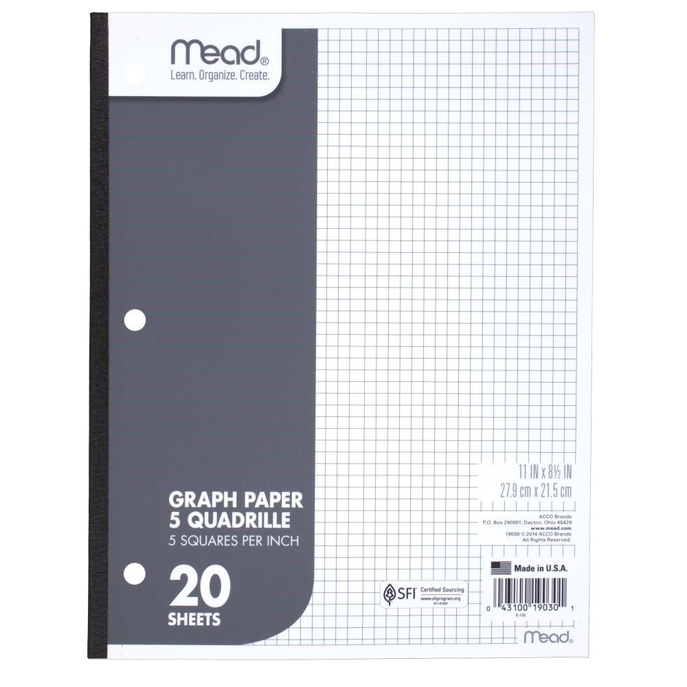 Mead Quadrille Graph Paper - White 11x8.5in 20Sht Bulk