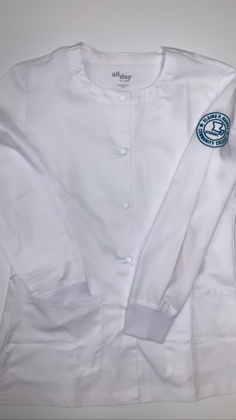 White Long Sleeve Labcoat w/ Embroidered Sleeve