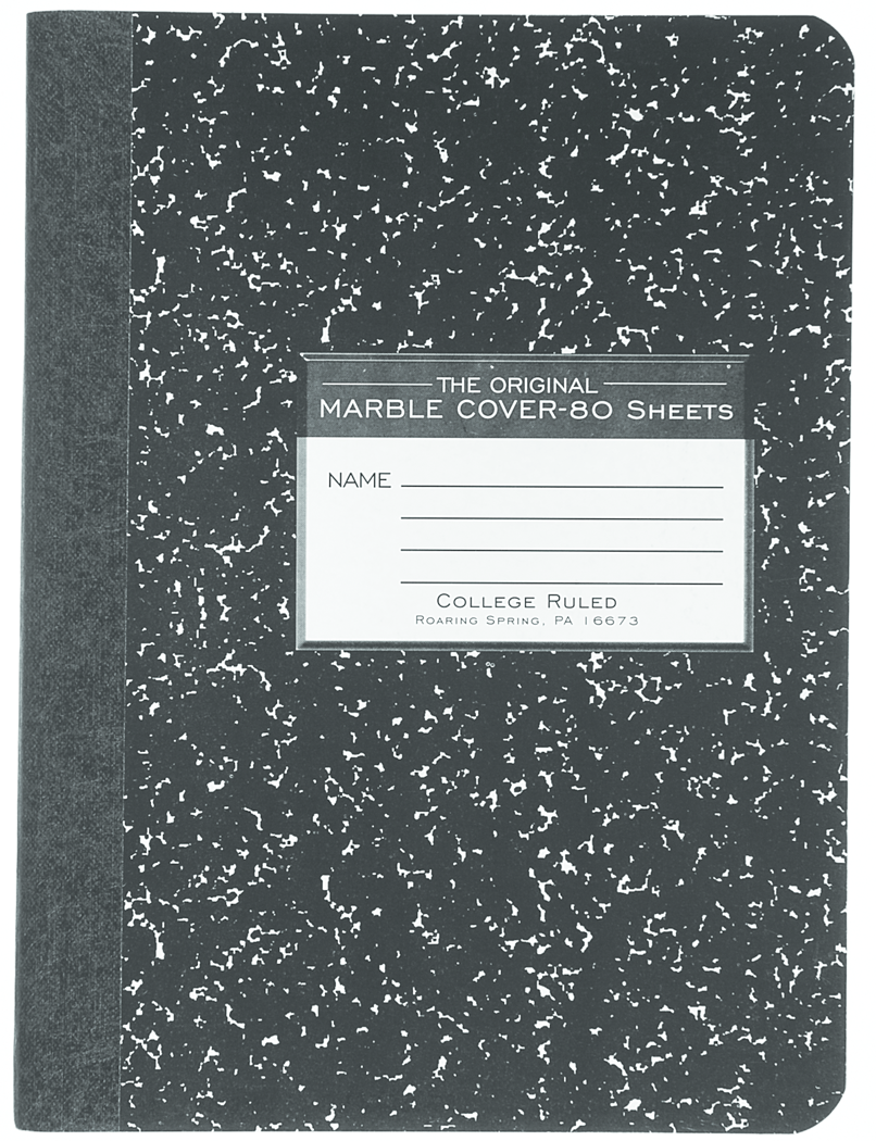 Roaring Spring Marble Composition Book - Black 7.5x9.75in 80Sht