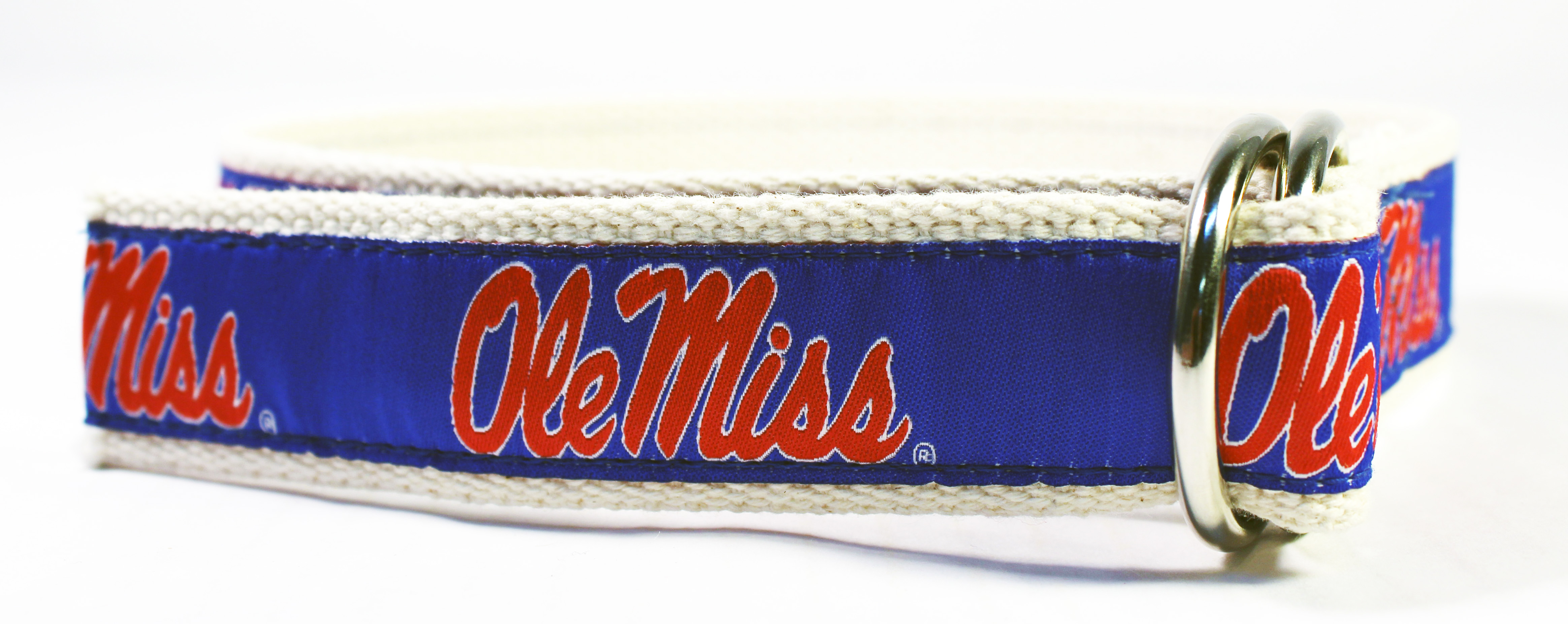Canvas and Ribbon Children's Belt with Ole Miss Script