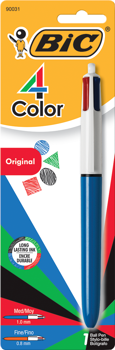 BIC 4-Color Retractable Ballpoint Pen - Asst 1.0mm 1Pk BP