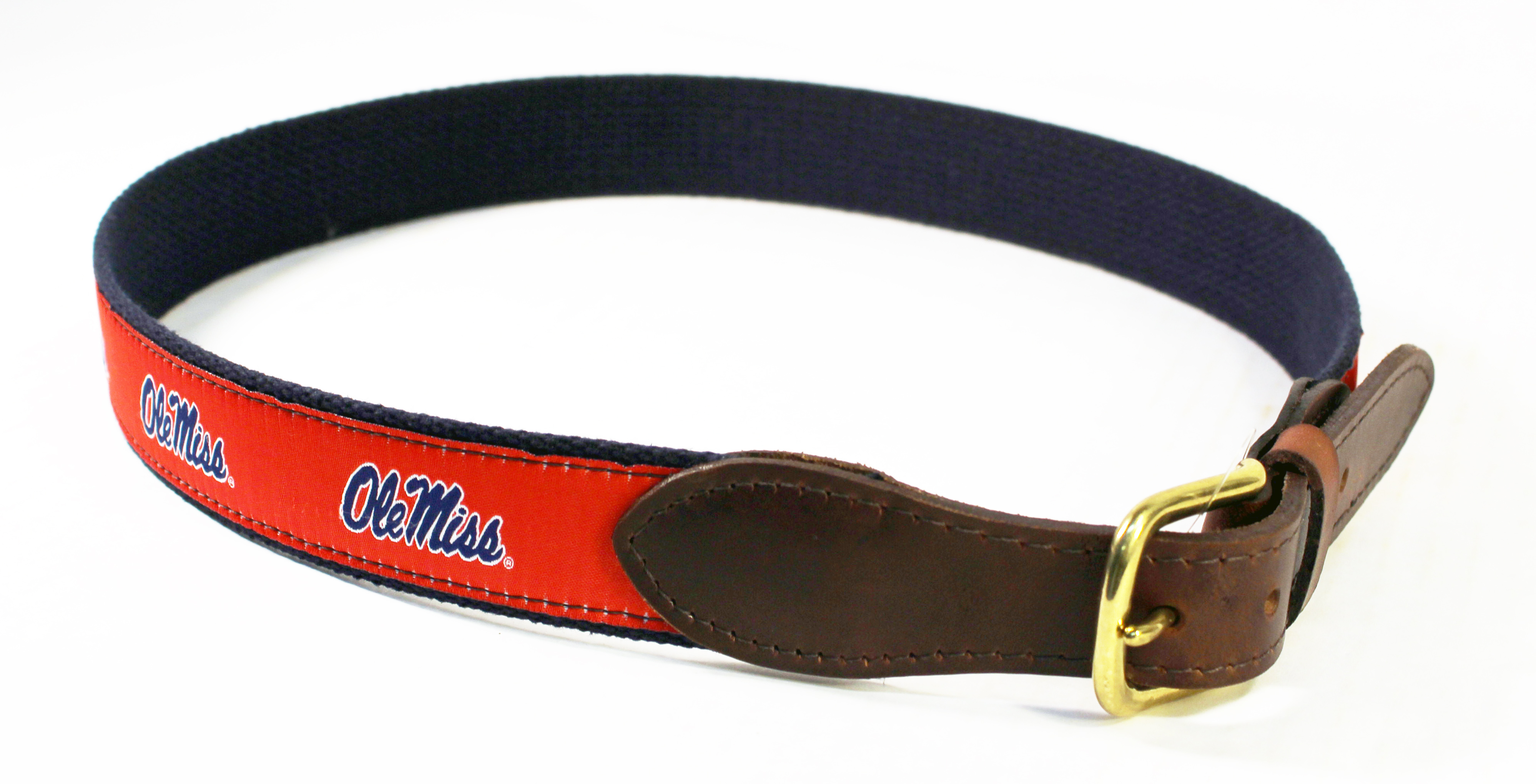 Red Ribbon Belt with Ole Miss Script
