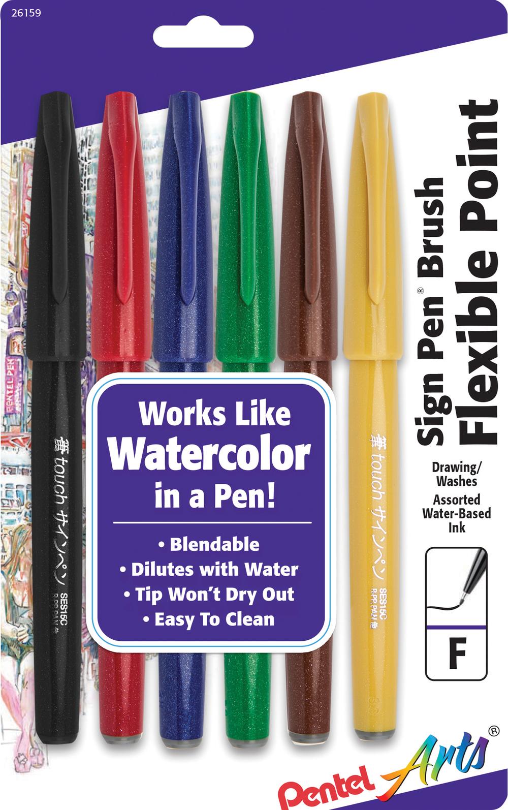 Pentel Arts Sign Pen Brush - Asst Brush Tip 6Pk BP