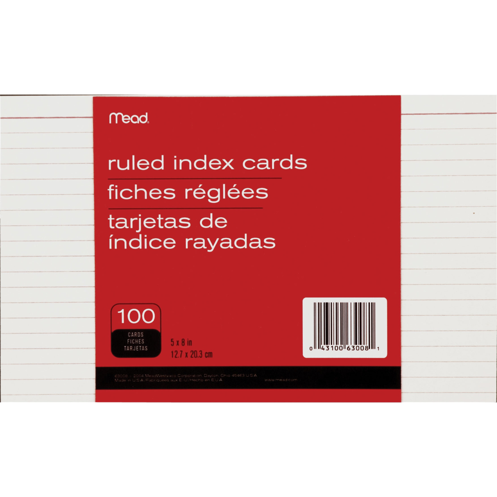 Mead Index Card - White 5x8in 100Ct Bulk Ruled