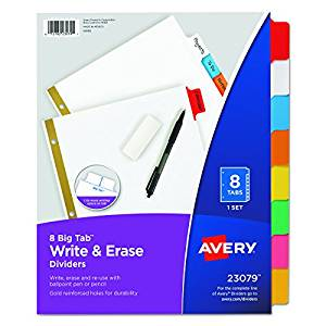 Write on Tab Dividers (8-Pack)