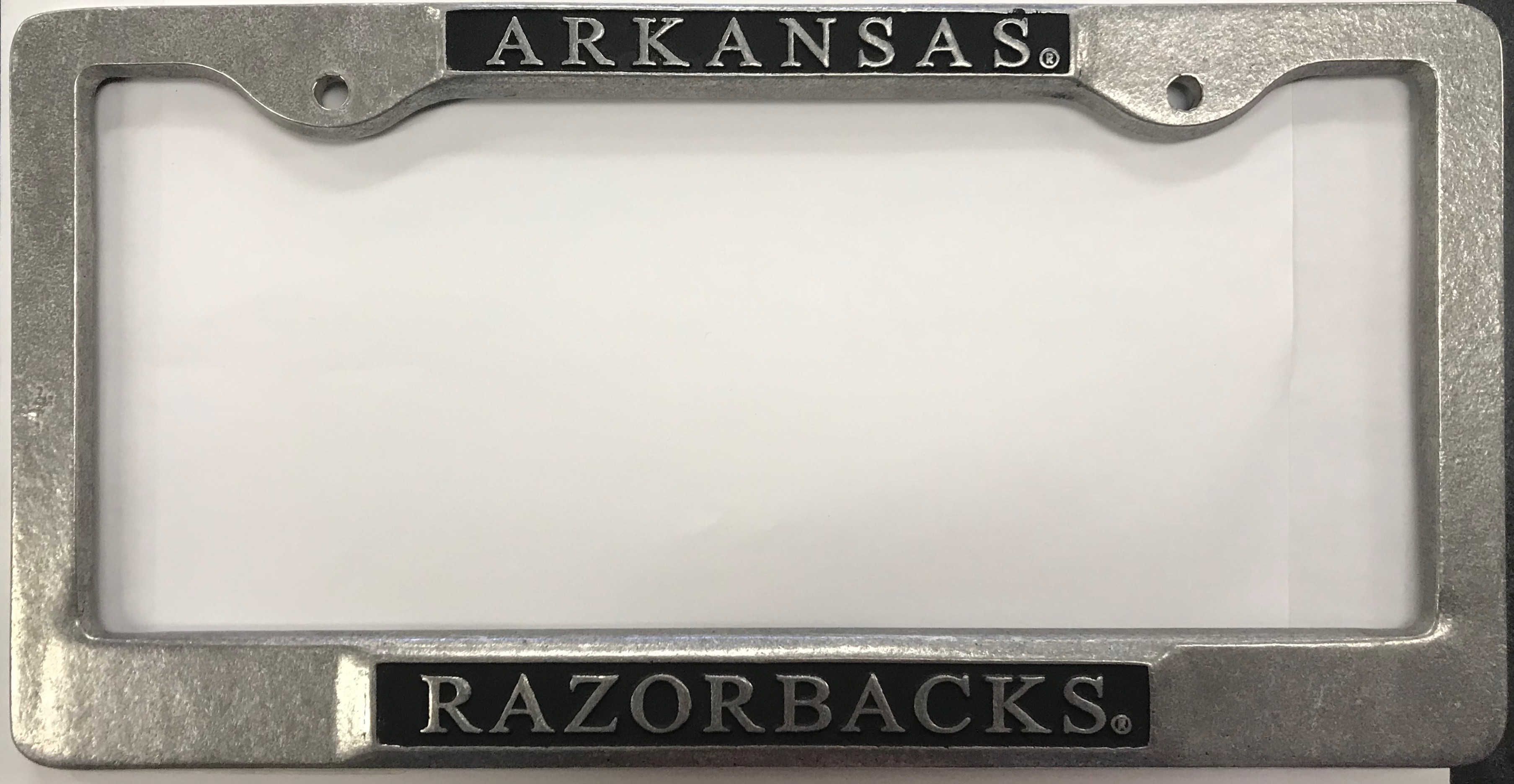 Chrome Arkansas Razorback License Plate Frame