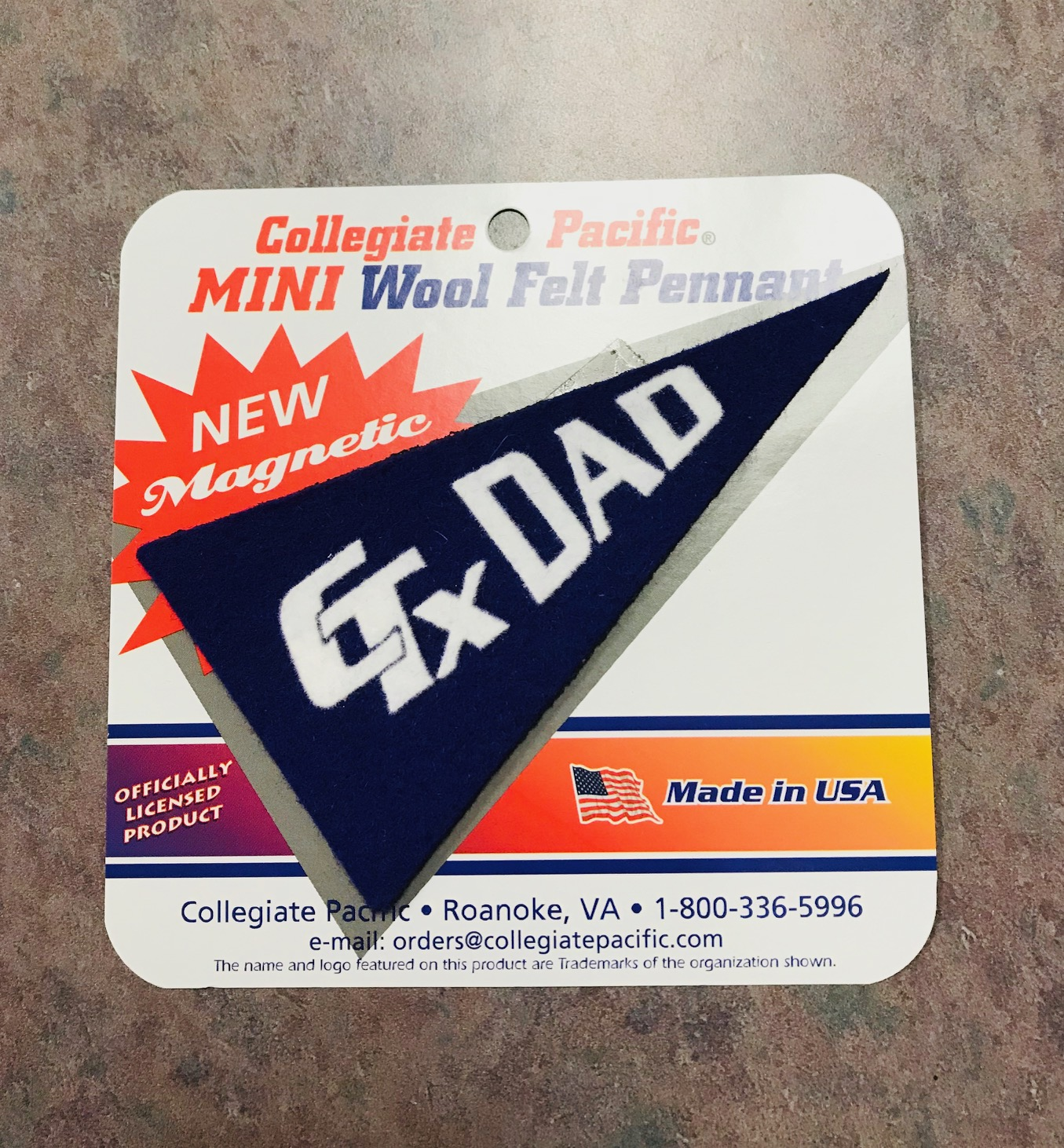Mini Felt Pennant Dad Magnet - Purple