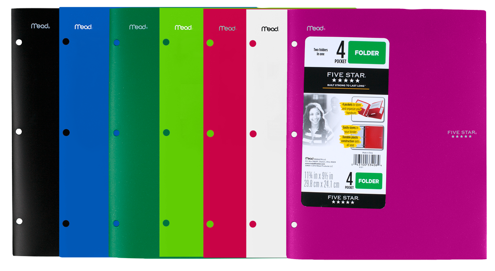 Five Star Plastic Pocket Folder - Asst 9.5x11.75in Bulk 4 Pocket