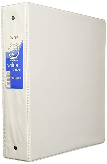 Samsill White 2 Inch Binder