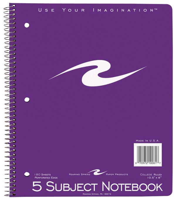 Roaring Spring Wirebound Notebook - Asst 8x10.5in 180Sht Bulk 5 Subject-College Ruled