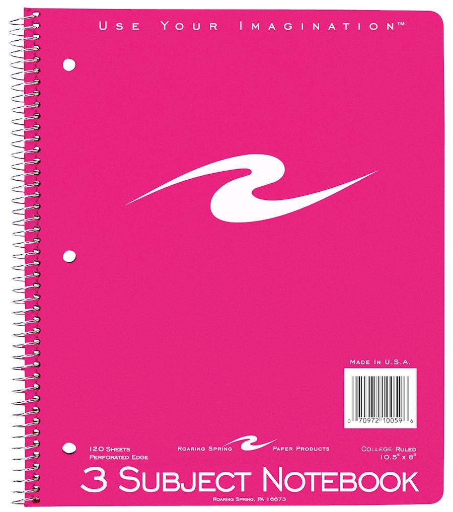 Roaring Spring Wirebound Notebook - Asst 8x10.5in 120Sht Bulk 3 Subject-College Ruled
