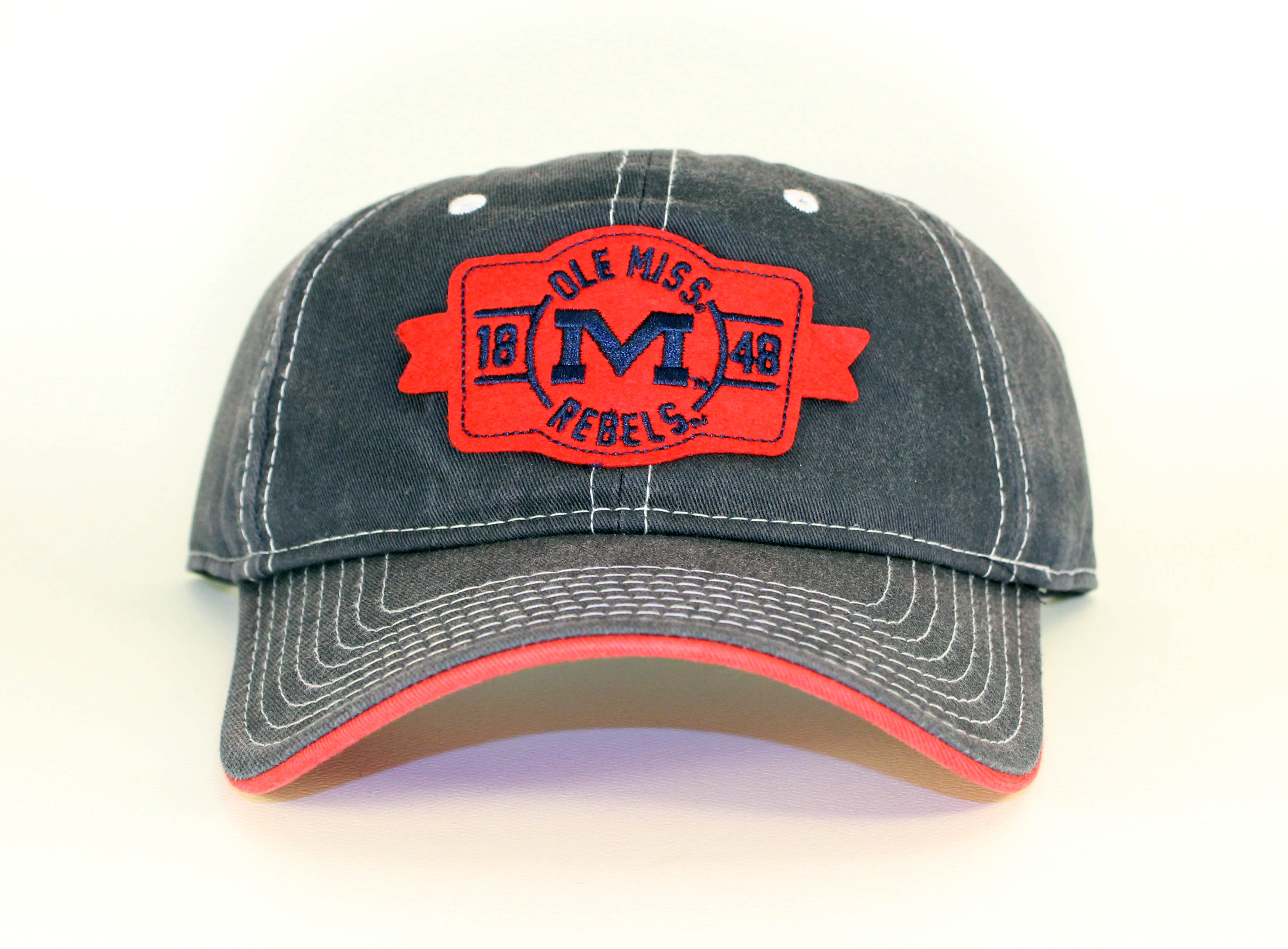 Ole Miss Rebels Red Patch - Navy Hat with White Stitching