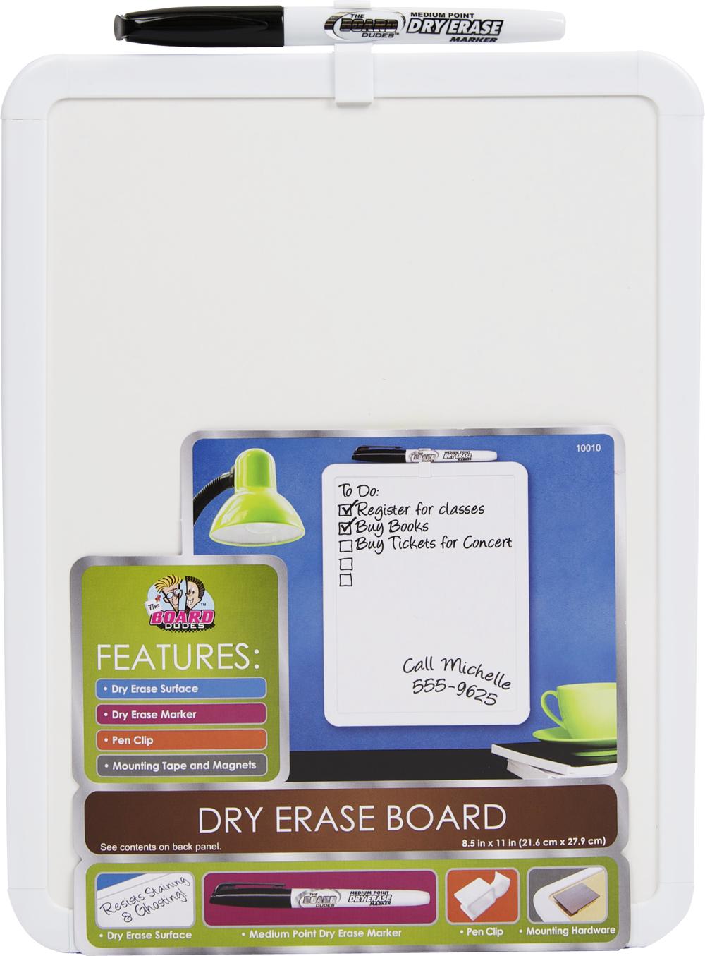 Board Dudes Plastic Framed Dry-Erase Board - White 8.5x11 Bulk