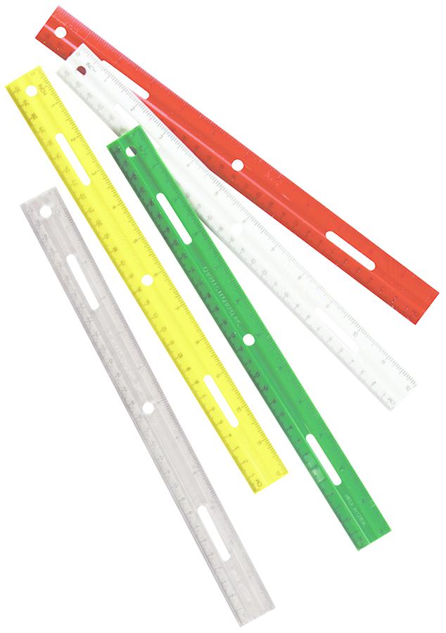 Charles Leonard Plastic Ruler - Asst 12in 1Pk BP