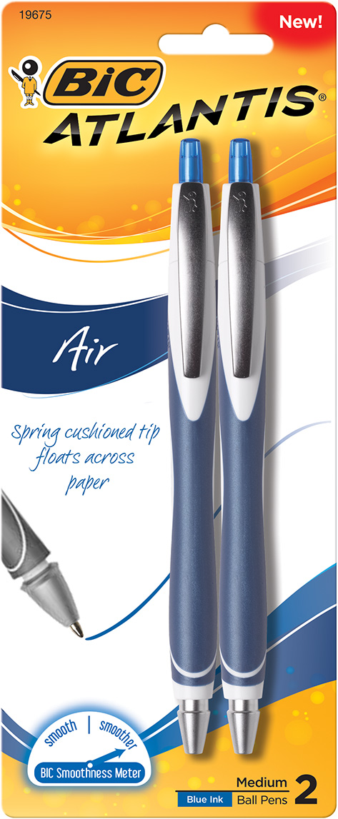 BIC Atlantis Air Retractable Ballpoint Pen - Blue 1.2mm 2Pk BP