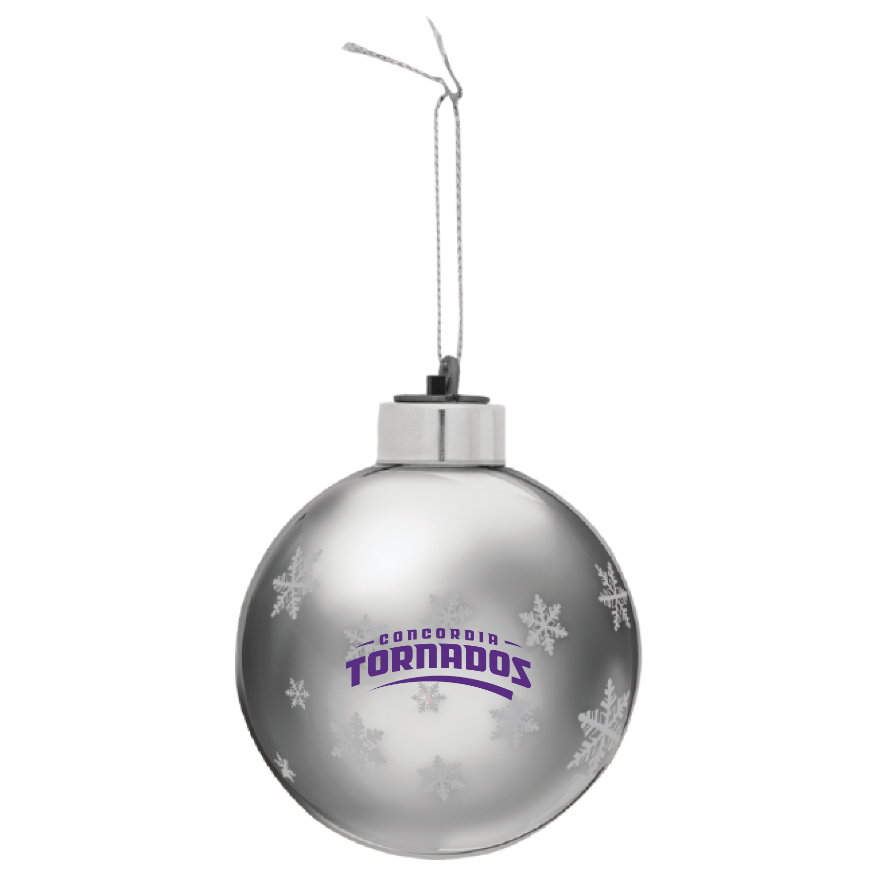 Tornados Light-Up Glass Ornament - Silver