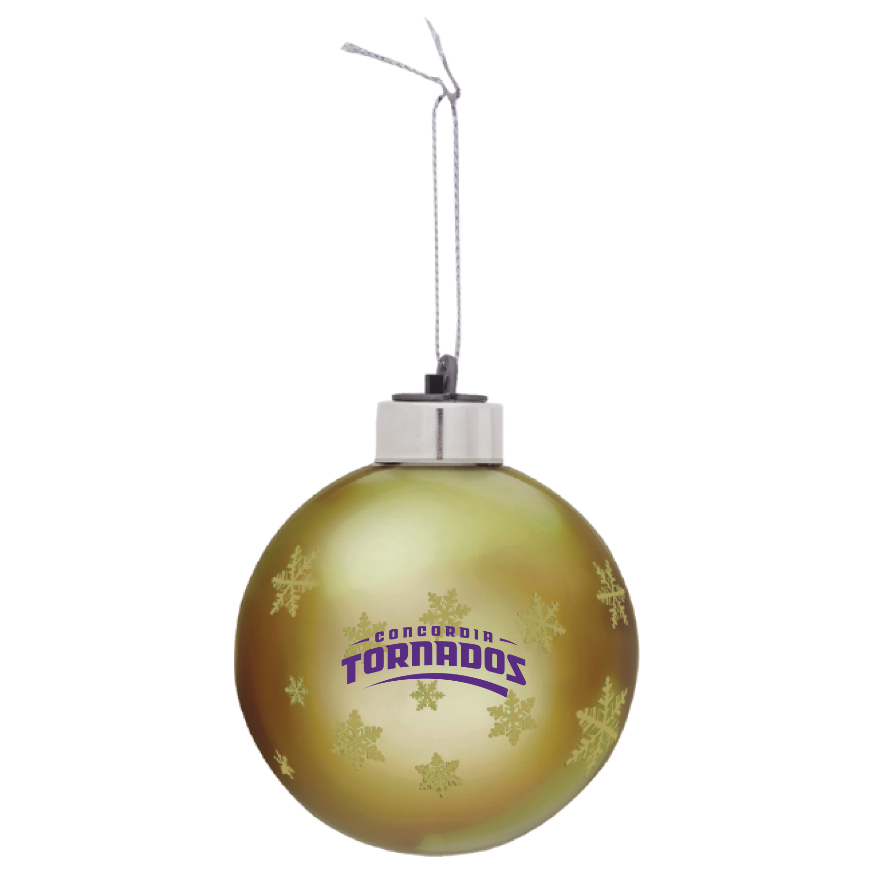 Tornados Glass Light-Up Ornament - Gold