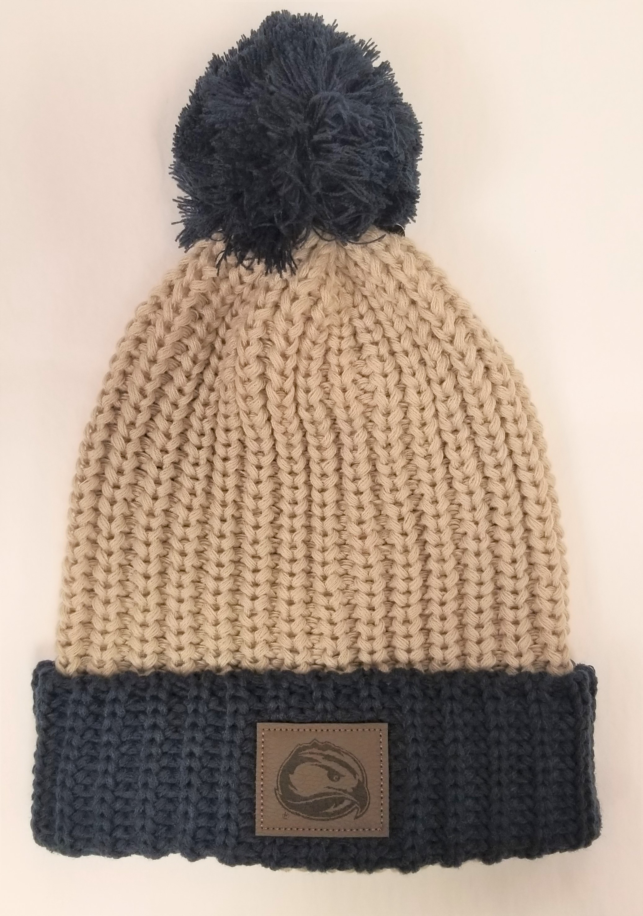 Leather Skyhawk Knit Beanie w/ Pom Pom