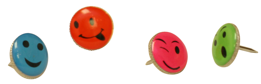 Baumgartens Decorative Push Pins - Asst 4.88x3.75x.5in 16Pk BP Smiley Face