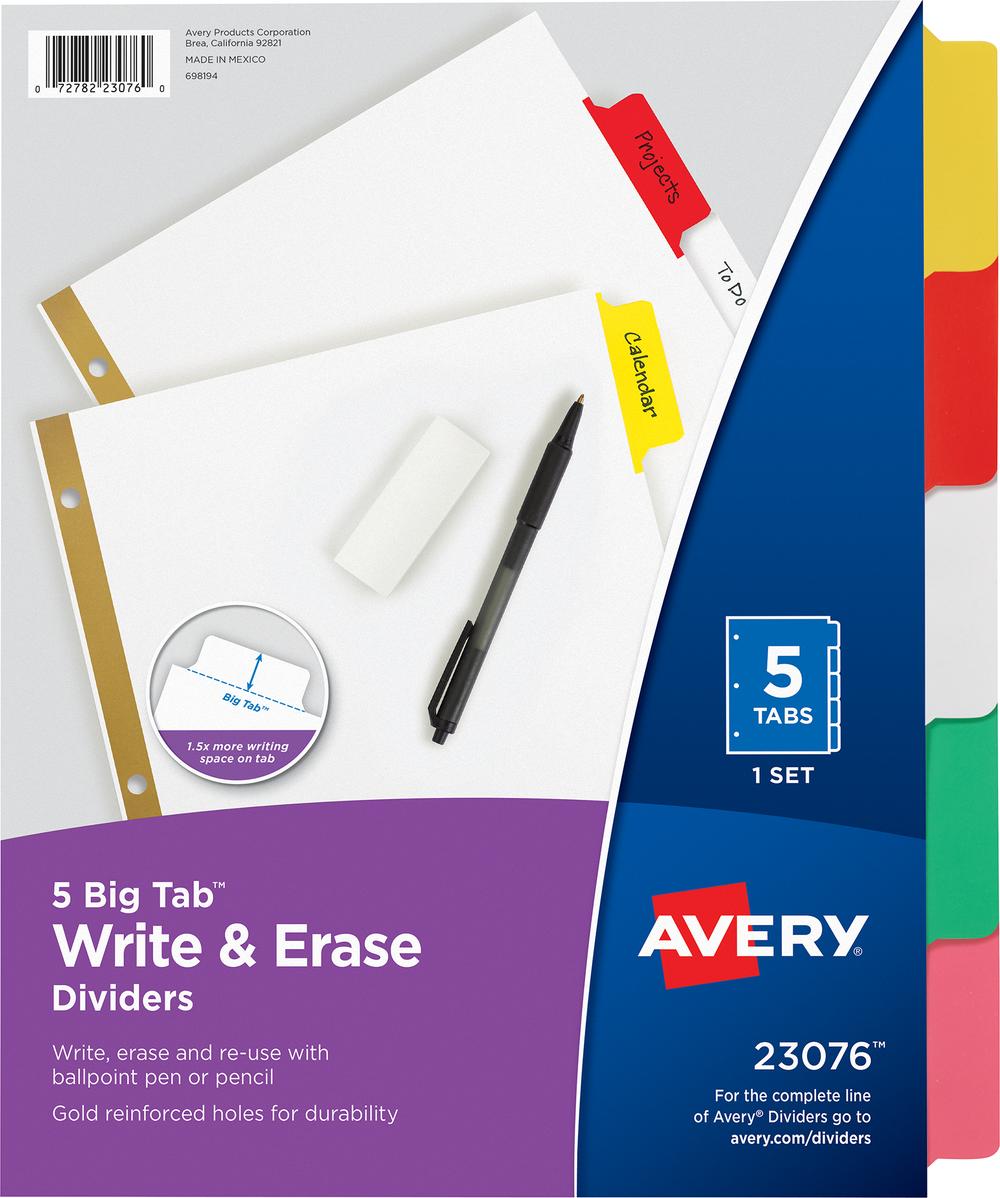 5 Big Tab Write and Erase Tab Dividers
