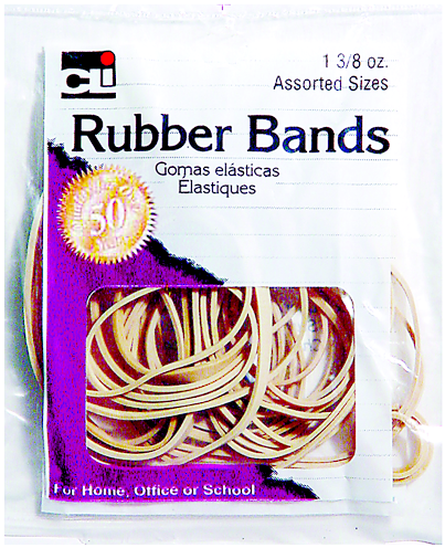 Charles Leonard Rubber Bands - Natural Asst 1Pk BP
