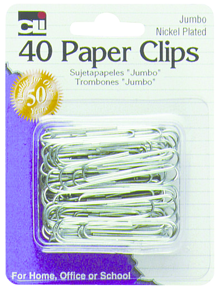 Paper Clips 40pk Nickel Plated