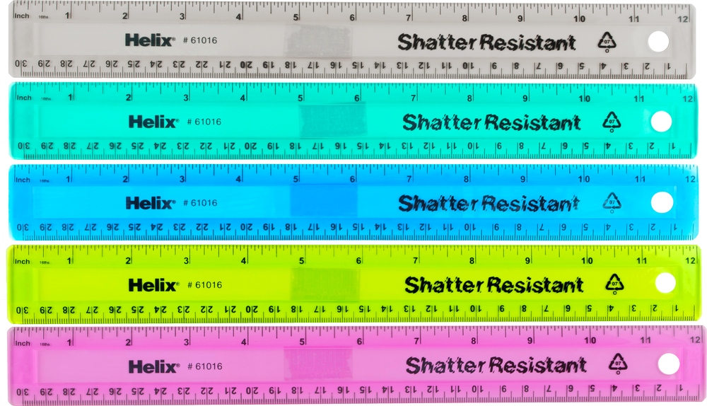 Helix Shatter-Resistant Colored Ruler - Asst 12in 1Pk BP