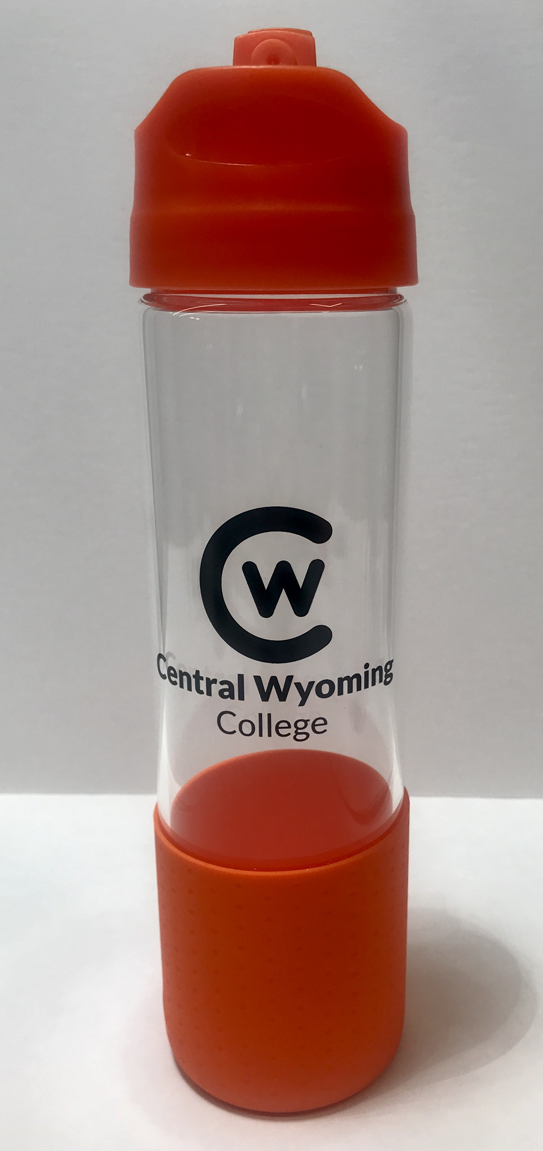 CW Logo Orange Accent Glass Water Bottle