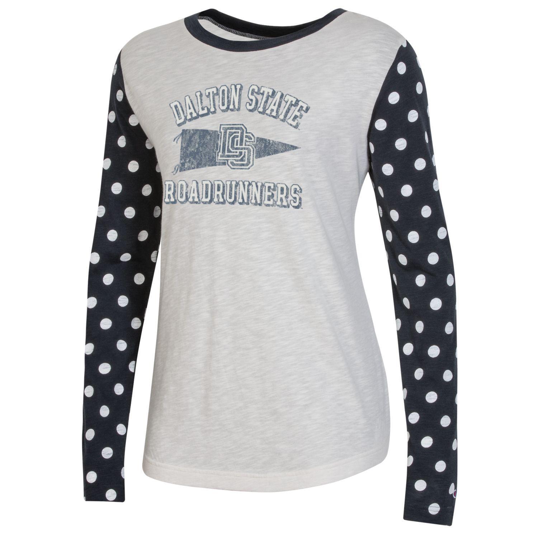 Dalton State Roadrunners Pennant Women's Est. Rochester Slub Colorblock Long Sleeve Shirt