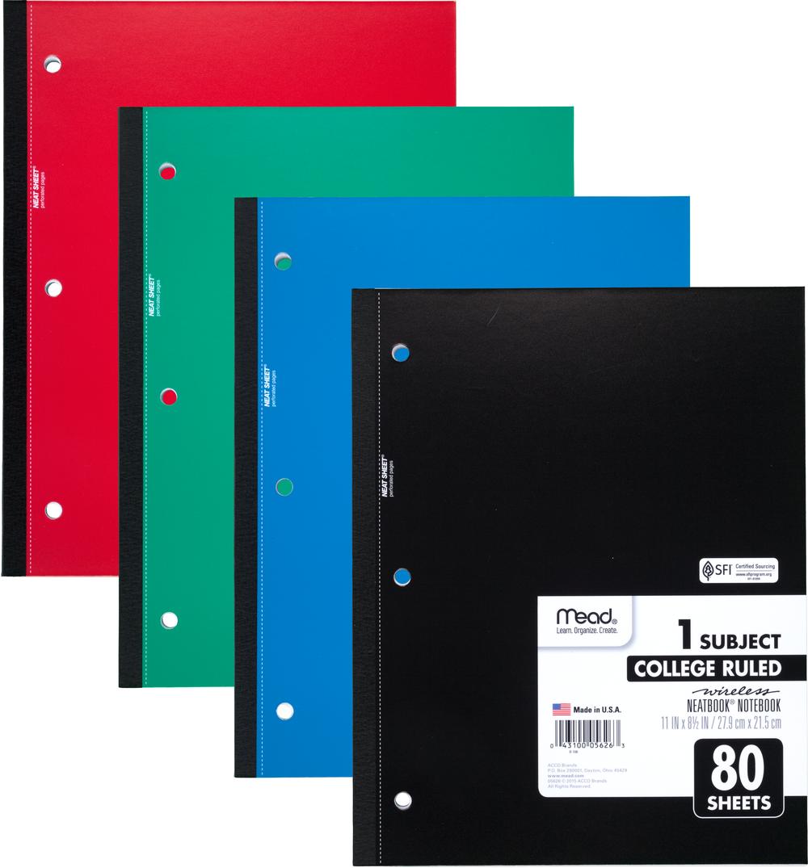 Mead Wireless Neatbook Notebook - Asst 10.5x8in 80Sht Bulk 1 Subject-College Ruled