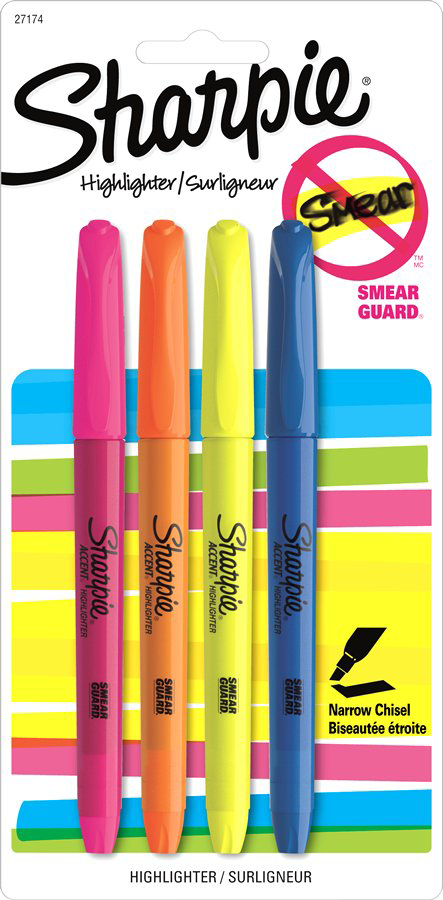 Sharpie Pen Style Pocket Highlighter - Asst Chisel 4Pk BP