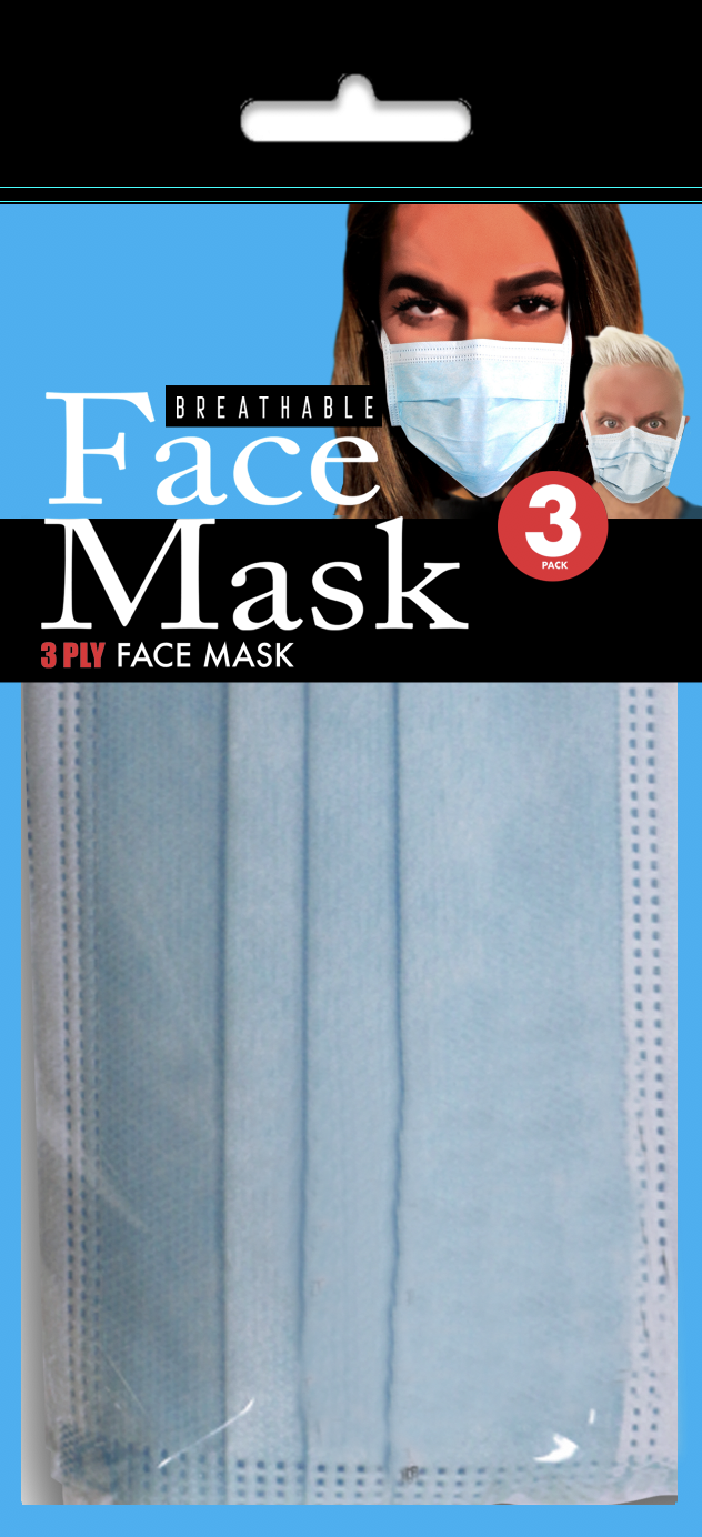 3 Ply Face Mask 3-pack