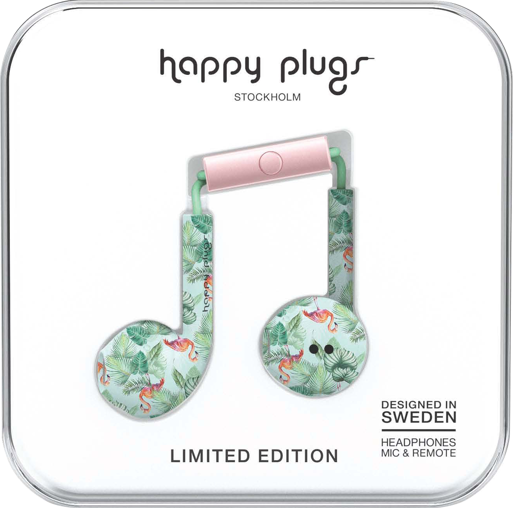 Happy Plugs Earbuds Plus with Mic - Pink Flamingo BP